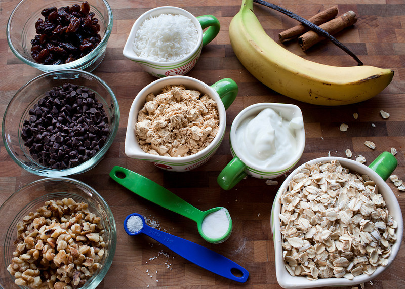 Ingredients for PB2 Banana Chocolate Chip cookies