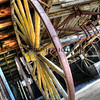 Old wagon left in the one of the buildings in Bodie.