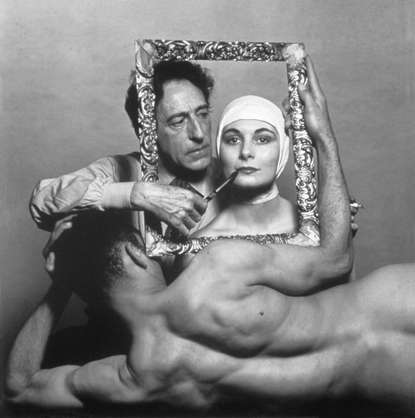 USA. New York City. 1949. French poet, artist and filmmaker Jean COCTEAU with actress Ricki SOMA and dancer Leo COLEMAN.