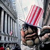 USA. Wall St. NYC. 1979. Paper mache figure of Wall st. capitalist during peace parade.