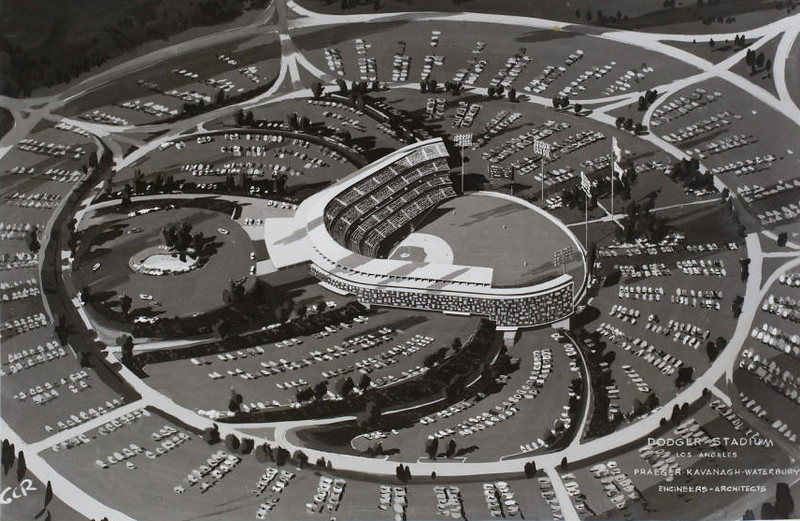 This is an architectural drawing of Dodger Stadium in 1959.  Notice that the rendering does not show any pavilion seats in the outfield.   USC Libraries
