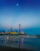 The Galveston Pleasure Pier during the blue hour