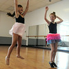 Khloe Racz, 5, left, and Bella Truxall, 7, of Elyria, learn how to jump on the first day of Ballet and Jazz Combo Class at Elyria YWCA on July 7.  The class continues through the week.   Steve Manheim