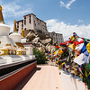 Thiksey Monastery, Stupas and Prayer flags