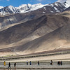 Tourists at Pangong Tso