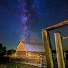 Iconic barn in the Tetons with Milky-way stars
