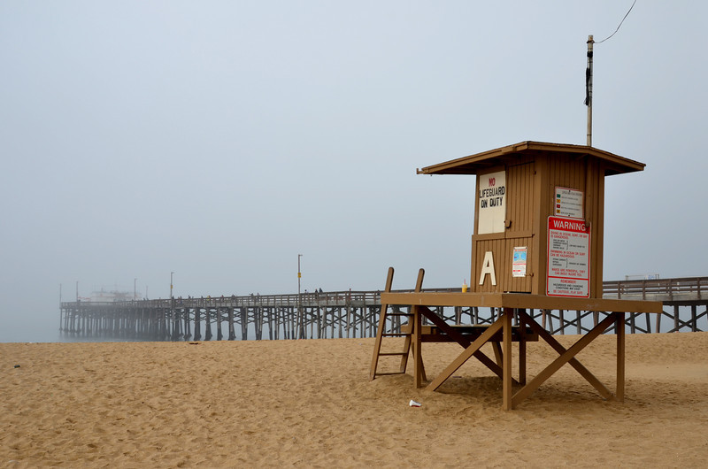 Newport Beach Pier with Lifeguard Stand 2