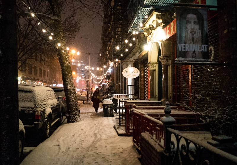 New York Winter Night - East Village Street in the Snow - By Vivienne Gucwa  On cold, beautiful winter night in New York City, snow covers the city streets of the East Village - a neighborhood in Lower Manhattan. Twinkling lights hang from snow-covered trees as a person makes their way through the snow during winter storm Nemo.  ---