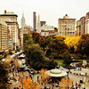 Autumn - New York City - Overlooking Union Square - By Vivienne Gucwa  On cloudy days in autumn, the trees stick out from the ground below like paintbrushes heavy with memories of the sun's embrace.   And the city, weary in preparation of shorter days, clamors to hold onto every last bit of color and light.  ---  I love this view of Union Square Park looking towards the Empire State Building and the beautiful skyscrapers in midtown Manhattan. It's particularly gorgeous in the autumn when the trees change color before descending gracefully to the ground.  ---