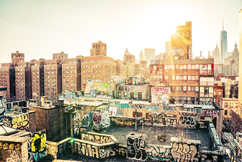 New York City - Sunset - Chinatown Rooftop Graffiti