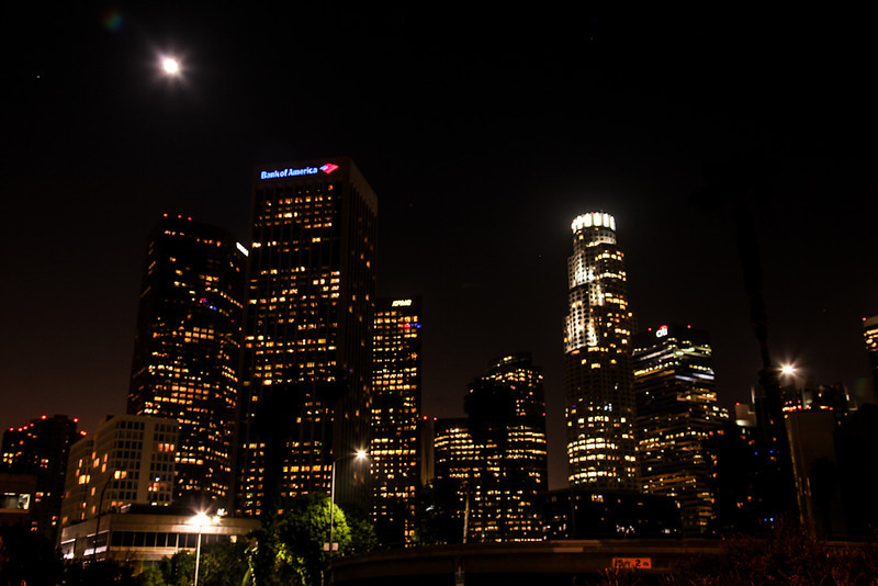 Partial Downtown LA Skyline & the Full Moon...taken from right on the freeway exit ramp curb...
