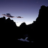 Smith Rock silhouette at dusk.  Terrebonne, OR