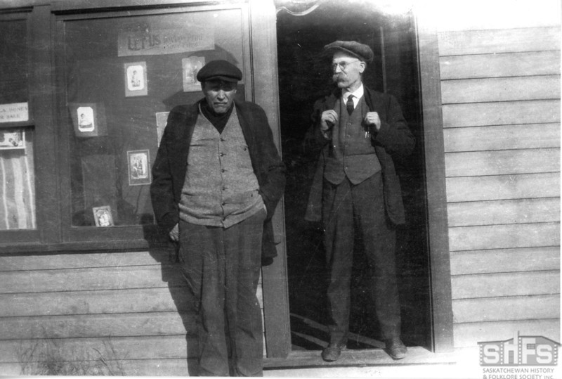 [Donald Buchanan and George Askin outside Buchanan's studio, Arcola, 1931]
