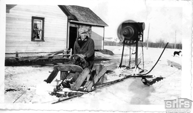 [Man on a propelled snowplane, Maidstone, winter 1939-40]