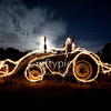 Ghost Tractor  2 minute exposure. Sparkler painting - 2 sparklers used to roughly outline the tractor whilst the shutter was open