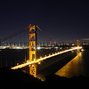 San Francisco's Golden Gate Bridge in the evening.