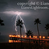 """Ultimate Strike"".  A rare electrical storm passes through the South Bay on 8/15/08.  <br /> As I was awoken by rumbling thunder on the night of August 15th, 2008, I jumped at the chance to possibly capture a rare electrical storm that hit unexpectedly.  As three separate thunderstorms collided, hundreds of jagged bolts struck the skies over the ocean before me with no rain nor wind. A perfect recipe for amazing shots and a once in a lifetime adventure for me in my own backyard.  The NWS sensors detected 445 cloud-to-ground lightning strikes from midnight to 3 A.M. thoughtout Los Angeles County that morning.<br /> Manhattan Beach Pier, Manhattan Beach, CA. Image published in the local South Bay local newspaper, ""The Beach Reporter"" 8/21/08 issue.  Image also published on the Front Cover of the ""South Bay Monthly"" Magazine, January 2010 (Manhattan Beach, Hermosa Beach, Redondo Beach & El Segundo Issue)."