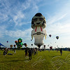 The massive Elvis balloon occupies 105,000 cubic feet of space when fully inflated. It was built in Brazil last year