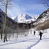 Walking With Snow Shoes at Maroon Bells Near Aspen Colorado