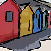 Colorful beach huts. Whitby, North Yorkshire, Uk.