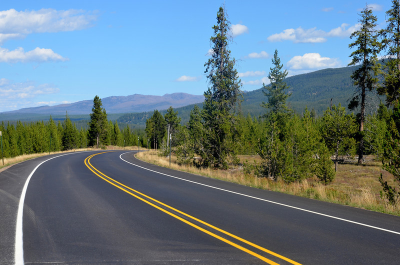 Nice Road in Yellowstone National Park in Wyoming