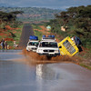 4 x 4 vehicles driving on a flooded road, South Ethiopia