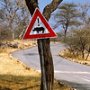 Road sign warning for rhino crossings, Omaruru Game Lodge, Namibia