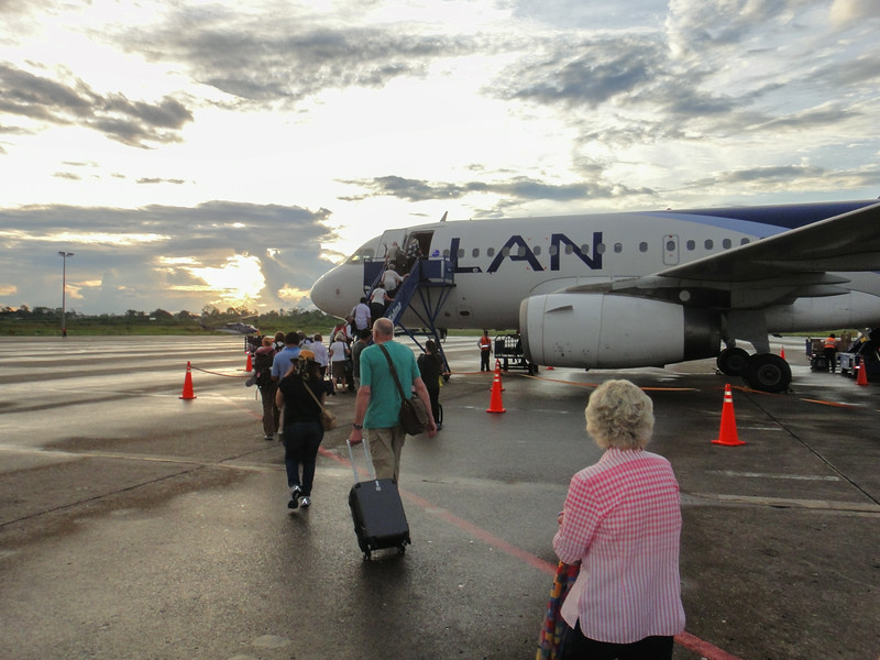 Boarding the plane in Iquitos for our trip back to Lima