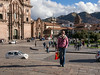 Plaza de Armas, Church of the Society of Jesus on the left, and a Cailin in the foreground. (Brenda Barnard Photographer)