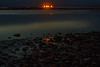 Rye Beach with oil barge anchored off the coast waiting to enter Portsmouyh Harbor
