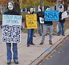 """Million Mask March"" protester expresses opposition to government spying by the NSA."