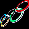 Olympic Rings - Illuminated Neon Sign in Hongkong, China, Asia