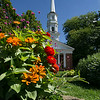 Flowers and Chapel in Greenfield Village
