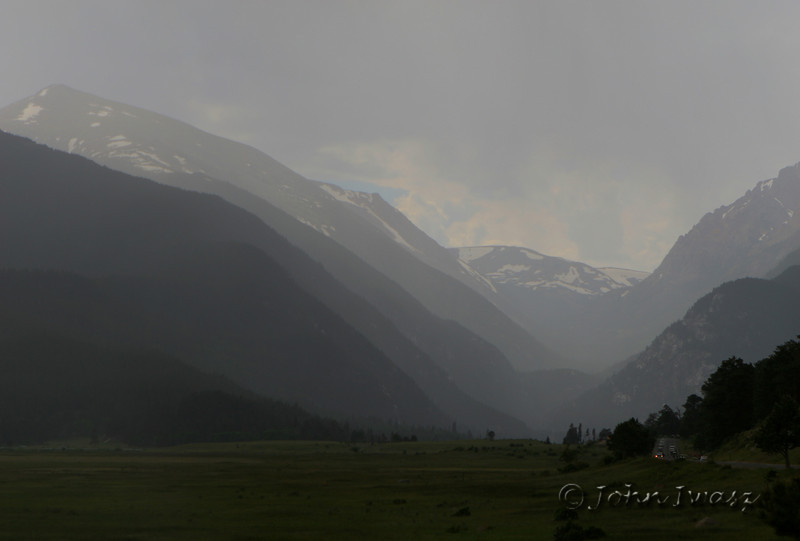 A storm enters Rocky Mountain National Park in Colorado as we're about to leave.