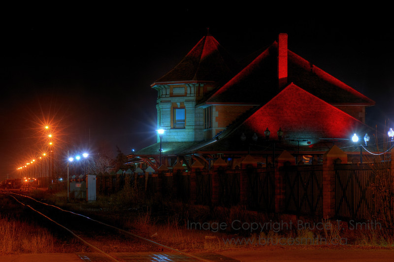 Old Edmonton Train Station at night