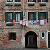 Laundry hanging over a Venice piazza