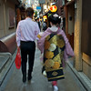 Geiko and her customer in Pontocho, Kyoto