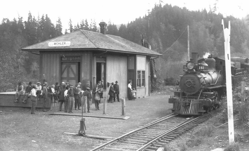 Mohler was established in 1911, the first year of railroad operation from Portland to Tillamook. The post office was moved from Balm, located a few miles up Foley Creek.