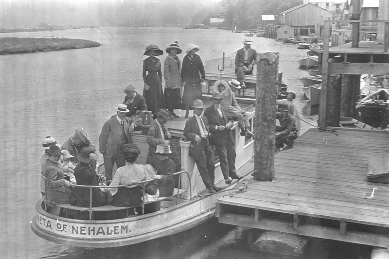 Until the early 1920s, the Juneta ferry brought travelors across the bay from the train station in Wheeler to the Nehalem dock.