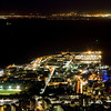 Cape Town in the early evening, showing the city lights