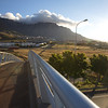 Pedestrian bridge over Eastern Boulevard, Cape Town, facing Table Mountain
