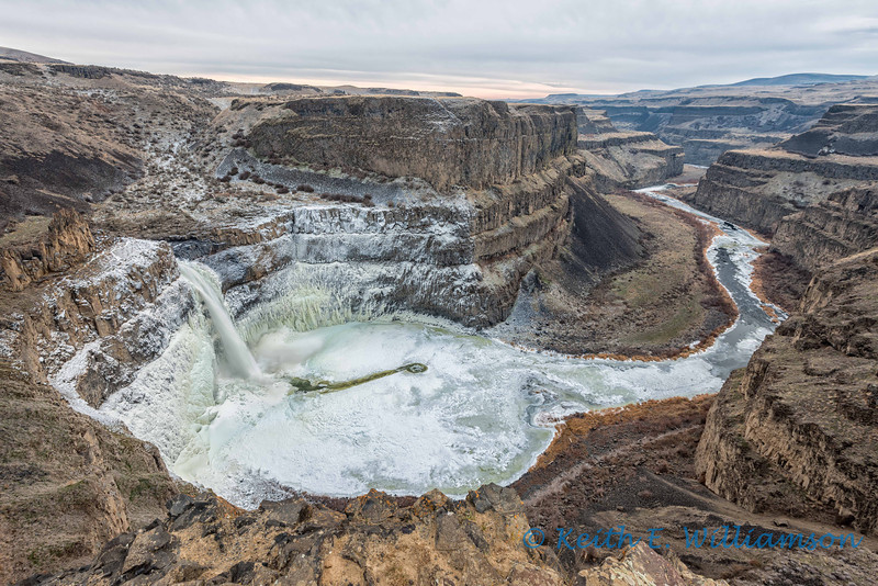 Palouse Falls, during an overcast sunset, mid December