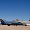 Right - McDonnell Douglas YF-4J Phantom II, Middle - Grumman F-11A Tiger - Blue Angel #5, Left - Grumman F9F-8P (RF-9J) Cougar