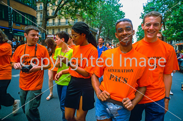 Paris, France.. Public Demonstration, French Gays, LGBT Groups Protesting for Partnership Contract, CUS / PACS (Pre-Gay Marriage) 1999