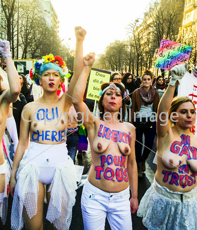 Paris, France, Topless French LGTB N.G.O. Gay Feminist Activists , Femen,  at pro Gay Marriage Demonstration, 27 jan 2013