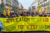 Paris, France, 12th April 2014, French Political Left Demonstration Against Economic Austerirty by the Socialist Government, Front de Gauche, French Communist Party,