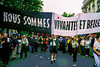 "Paris, France, AIDS Activists from  Act Up-Paris, Marching in Annual Gay Pride (LGBT) Parade with Banner reading ""We are Still living and Beautiful"""