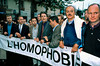 PARIS, France - French Politicians at Gay Pride March, with Paris Mayor Bertrand Delanoe (2nd from left), Pierre Bloch (Senator, P.S., center), Christophe Girard, (, ex-vice President of Ensemble Contre le SIDA, Assoc. for funding Fight Against AIDS).