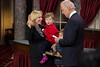 U.S. Senator Kirsten Gillibrand (D-NY) (left) and sons Henry (b. 2008) and Theodore (b. 2003) participate in a reenacted swearing-in with Vice President Joe Biden. The ceremonial event took place in the Old Senate Chamber inside the U.S. Capitol Building in Washington D.C. on January 3, 2013. The official swearing-in ceremony happened earlier in the Senate chambers on the opening day of the 113th Congress. (Photo by Jeff Malet).
