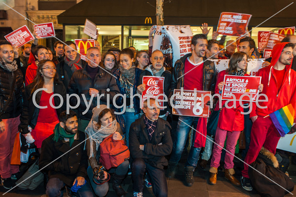 "Paris, France. Public Demonstration, French LGBT Group, ""All Out"", Protesting Against the  recently passed Homophobic Law.  in Russia, and the Opening of the Olympic Games in Sochi, In front of McDonald's Restaurant, Official Sponsor of the Games; 05/02/2014"